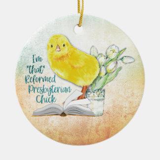 """Ornamento De Cerâmica """"Enfeites de natal do pintinho presbiteriano"""