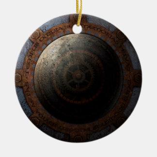 Ornamento De Cerâmica Engrenagens do metal da horas da lua de Steampunk