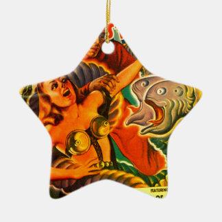 Ornamento De Cerâmica Enguia Dois-dirigida assustador do espaço