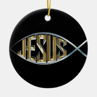Ornamento De Cerâmica Entalhe dos peixes de Jesus