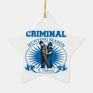 Ornamento De Cerâmica Época de caça do criminoso de South Dakota