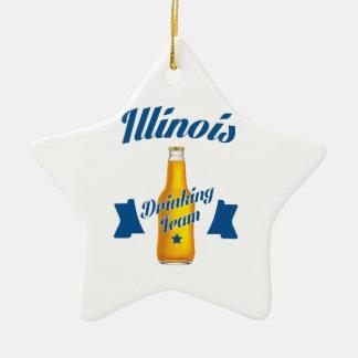 Ornamento De Cerâmica Equipe do bebendo de Illinois