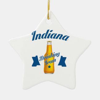 Ornamento De Cerâmica Equipe do bebendo de Indiana