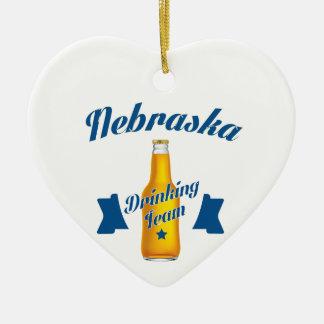 Ornamento De Cerâmica Equipe do bebendo de Nebraska