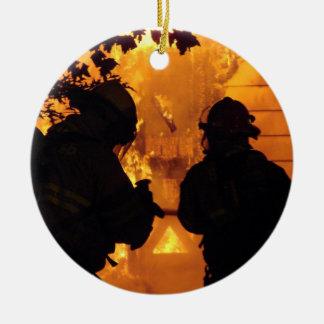 Ornamento De Cerâmica Equipe do sapador-bombeiro