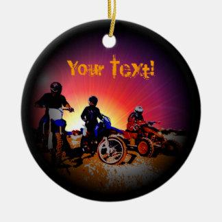 Ornamento De Cerâmica Equitação adolescente do velomotor do motocross do