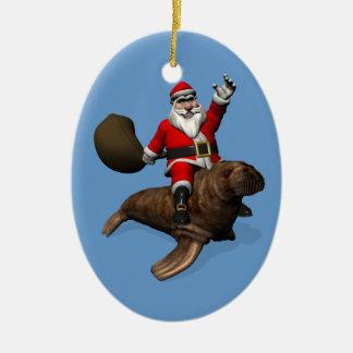 Ornamento De Cerâmica Equitação de Papai Noel na morsa