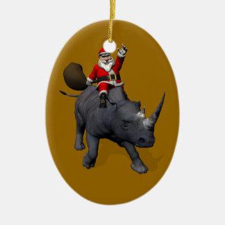 Ornamento De Cerâmica Equitação de Papai Noel no rinoceronte