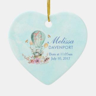 Ornamento De Cerâmica Equitação lunática do coelho em um bebê do balão