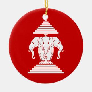Ornamento De Cerâmica Erawan três dirigiu o Lao do elefante/bandeira de