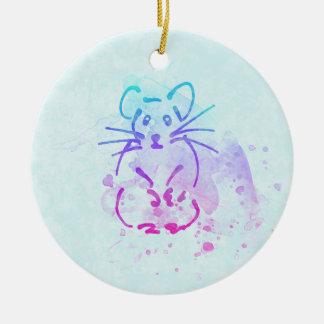 Ornamento De Cerâmica Esboço bonito do hamster - personalize o texto