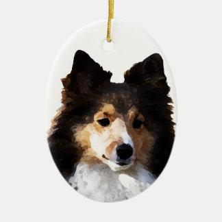 Ornamento De Cerâmica Esboço da pintura do cão de Sheltie