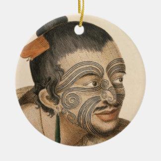 Ornamento De Cerâmica Esboço de um homem maori, C. 1769