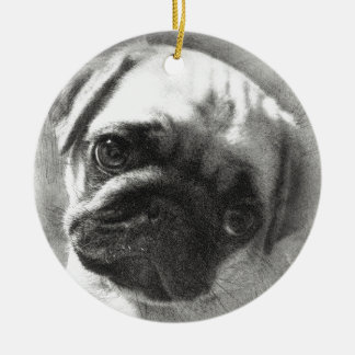 Ornamento De Cerâmica Esboço do cão de filhote de cachorro do Pug