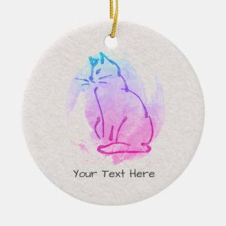 Ornamento De Cerâmica Esboço feito sob encomenda da aguarela do gato -