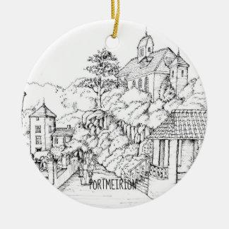 Ornamento De Cerâmica Esboço norte da caneta e da tinta de Portmeirion