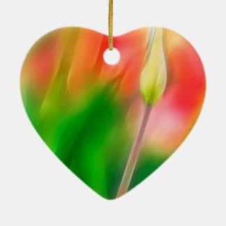 Ornamento De Cerâmica Esboço vermelho e amarelo verde da tulipa