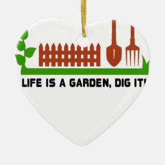 Ornamento De Cerâmica Escavação da vida e do jardim ele