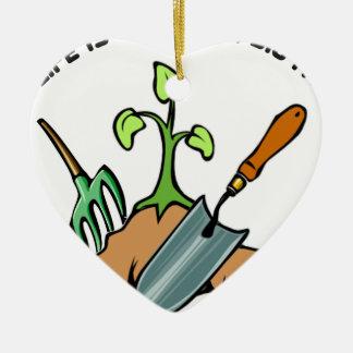 Ornamento De Cerâmica Escave-o, vida é um jardim