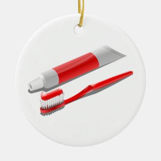 Ornamento De Cerâmica Escova de dentes e dentífrico