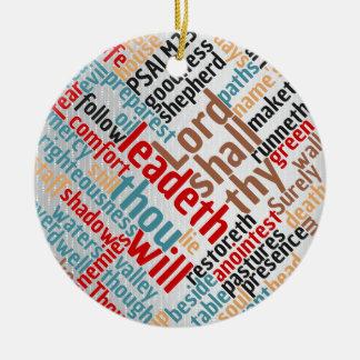 Ornamento De Cerâmica Escritura cristã do salmo 23 do Natal