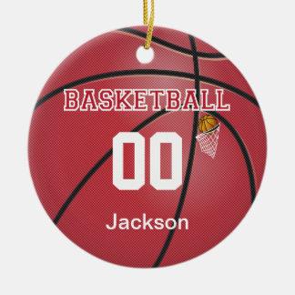 Ornamento De Cerâmica Escuro - nome & número vermelhos do basquetebol |
