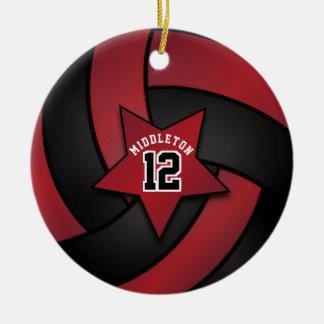 Ornamento De Cerâmica Escuro - voleibol vermelho e preto da estrela