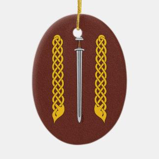 Ornamento De Cerâmica Espada e Plaitwork de Viking