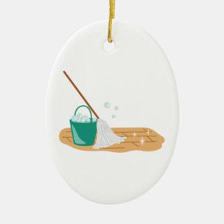 Ornamento De Cerâmica Espanador & balde