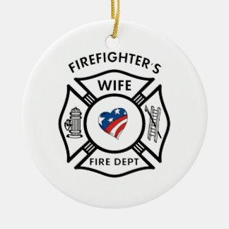 Ornamento De Cerâmica Esposas EUA do bombeiro