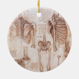 Ornamento De Cerâmica Esqueletos humanos da anatomia por Leonardo da