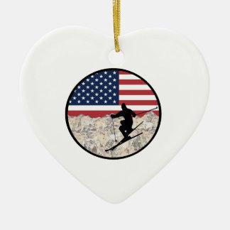 Ornamento De Cerâmica Esqui América