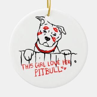 Ornamento De Cerâmica Esta menina ama seu pitbull