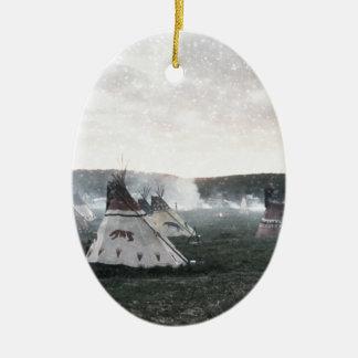 Ornamento De Cerâmica Está nevando no acampamento