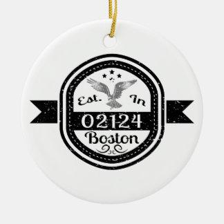 Ornamento De Cerâmica Estabelecido em 02124 Boston