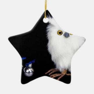Ornamento De Cerâmica Estatueta nevado branca da coruja com Natal de