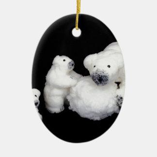Ornamento De Cerâmica Estatuetas da família dos ursos polares que jogam
