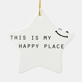 Ornamento De Cerâmica este é meu design moderno simples do lugar feliz