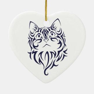 Ornamento De Cerâmica Estêncil dianteiro da cara do gatinho do gato do