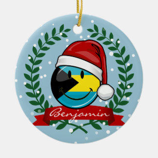 Ornamento De Cerâmica Estilo alegre do Natal da bandeira de Bahamas