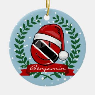 Ornamento De Cerâmica Estilo alegre do Natal da bandeira de Trinidad