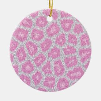 Ornamento De Cerâmica Estilo do leopardo de neve - rosa de prata