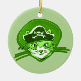 Ornamento De Cerâmica estilo dos desenhos animados do gato do pirata