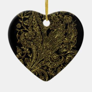 Ornamento De Cerâmica estilo floral dourado do embutimento