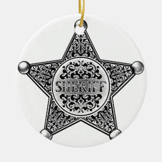 Ornamento De Cerâmica Estilo gravado crachá da estrela do xerife