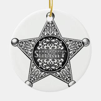 Ornamento De Cerâmica Estilo ocidental do crachá da estrela do xerife