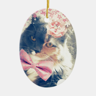 Ornamento De Cerâmica Estilo retro do gatinho bonito do racum de Maine