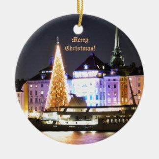 Ornamento De Cerâmica Éstocolmo, suecia no Natal na noite