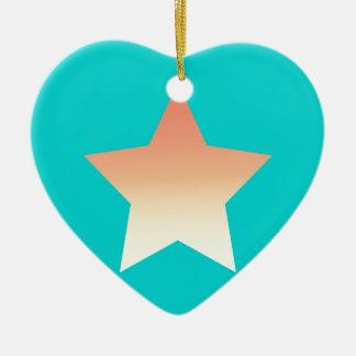 Ornamento De Cerâmica Estrela alaranjada brilhante no azul