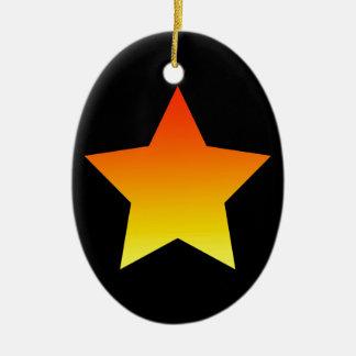 Ornamento De Cerâmica Estrela alaranjada brilhante no preto